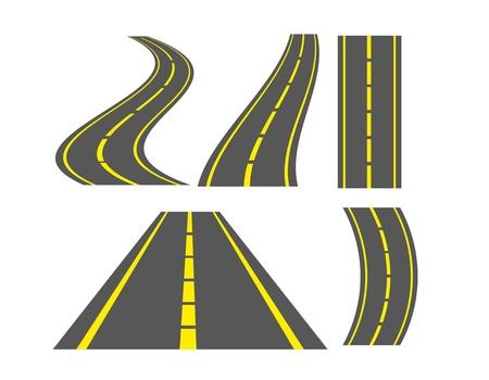 グレーと黄色の道路は白地に分離されました。図  イラスト・ベクター素材