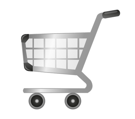 push cart: silver and black shopping cart isolated over white background