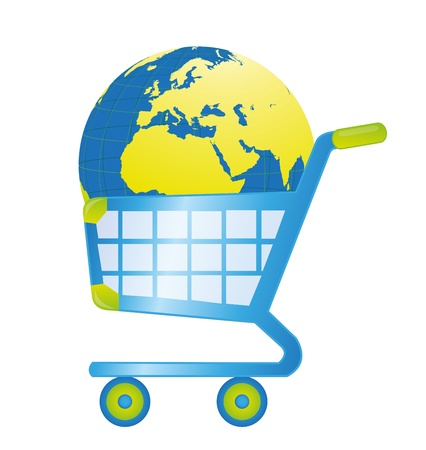 rapid steel: blue and green shopping cart with earth isolated over white background Illustration