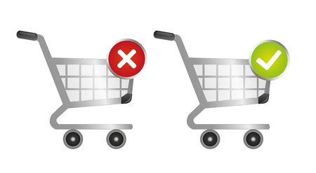 gree: silver, gree and red shopping carts with good and back sign over white background Illustration