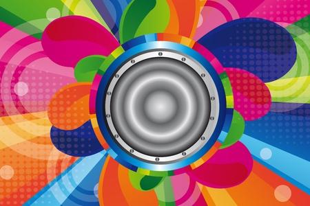 orange, blue, pink, green colorful speaker background Vector