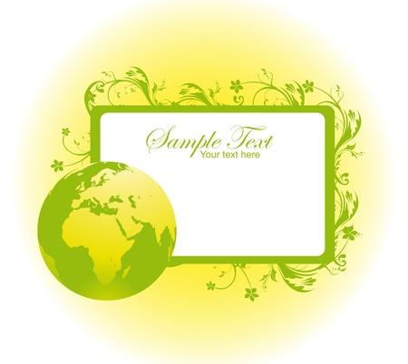 earth friendly: verde y blanco con la etiqueta de Blanck planeta y el sol sobre fondo blanco