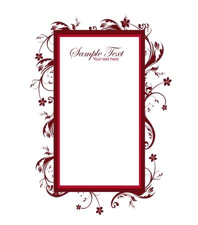 elegante: cornice rossa d'epoca isolato su sfondo bianco. illlustration Vettoriali
