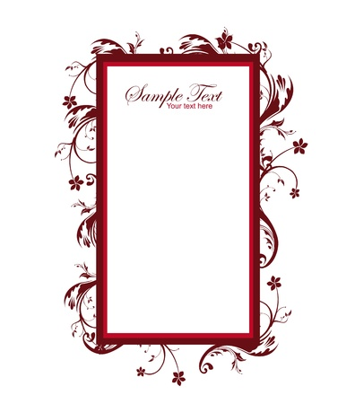 elegant: red vintage frame isolated over white background. illlustration Illustration