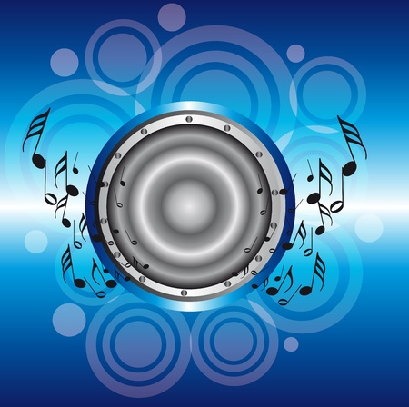 blue and silver speaker with note musicals over circles and blue background