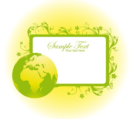 blanck: green and white blanck label with planet and sun over white background