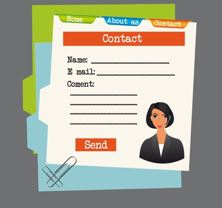 papers with information contact,name,e mail and coment over blue and green folders  Vector