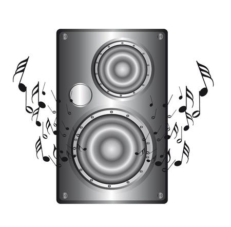 Silber-Lautsprecher mit Musik-Notes isolated over white Background. Vektor