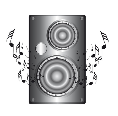 silver speaker with music notes isolated over white background. vector Vector