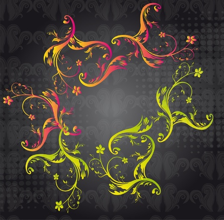 pink,yellow,green ornaments over black background. vector Vector
