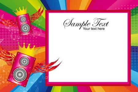 invitacion fiesta: coloridos altavoces con alas sobre fondo multicolor. Vector Vectores