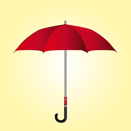 guarda sol: red umbrella over yellow and white background. vector Ilustra��o
