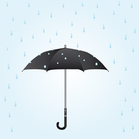 kropla deszczu: czarny parasol w deszczu na niebieskim tle. wektor