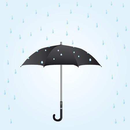 gotas de agua: paraguas negro bajo la lluvia sobre fondo azul. Vector