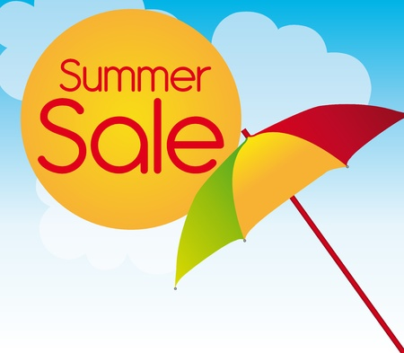 suntan: colors umbrella with sun summer sale over sky background. vector