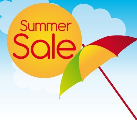 sun tan: paraguas de colores con venta de verano de sol sobre fondo de cielo. Vector