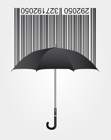 consumers: black bar code and umbrella over gray background. vector Illustration