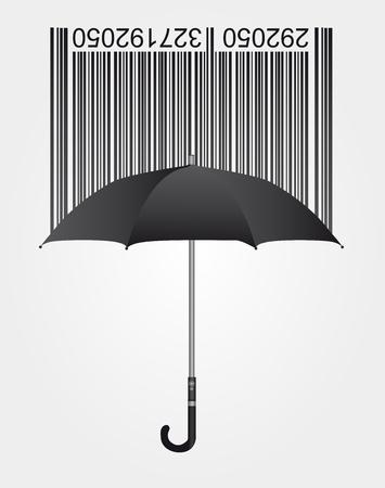 consommateurs: noir code � barres et un parapluie sur fond gris. vecteur