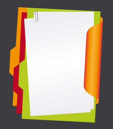 white paper and colors folders with paperclip isolated over gray background