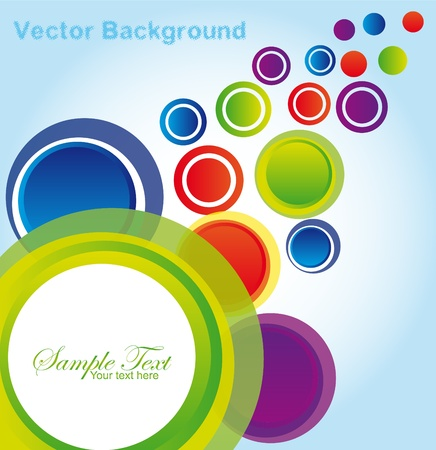 green, blue, violet, red, yellow, orange circles over blue and white background. vector Stock Vector - 10059366
