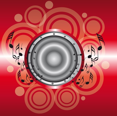 red and silver speaker with note musicals over circles and blue background Vector