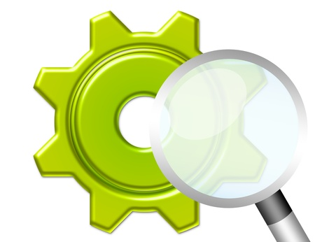 green gear and magnifying glass isolated over white background photo