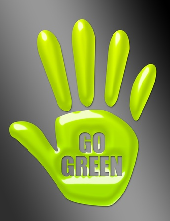 green hand with go green text over black background. illustration illustration