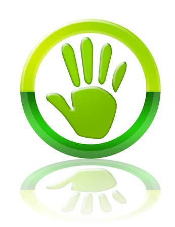 green and white hand button with reflection over white background photo