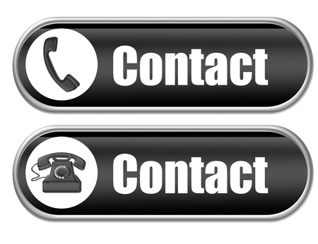 help button: black contact with telephone buttons isolated over white background Stock Photo