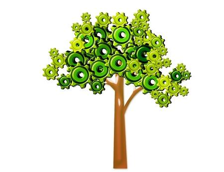 白い背景の上に分離された緑と茶色の歯車のツリーの概念