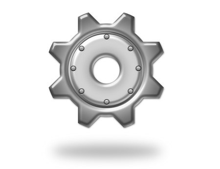 business gears: silver metallic gear with shadow over white background. illustration