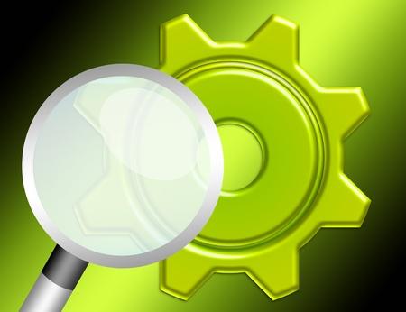 緑の歯車と緑の背景に分離された虫眼鏡 写真素材