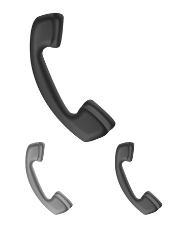 call us: black and gray telephones isolated over white background Stock Photo