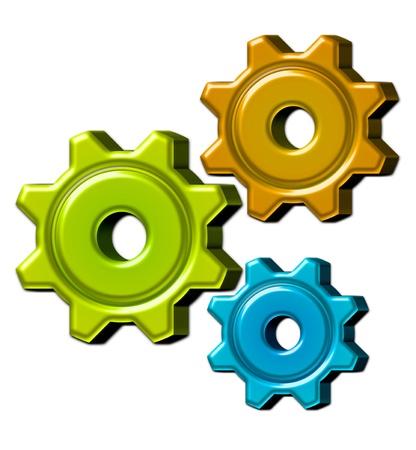 orange, green, blue gears over white background. illustration