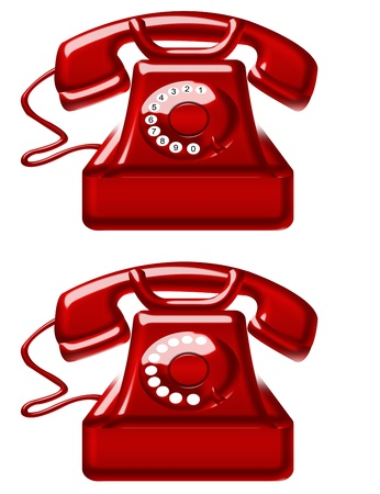 red old telephones isolated over white background. illustration illustration