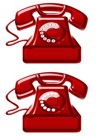 red old telephones isolated over white background. illustration illustration