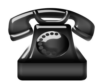 old black telephone isolated over white background  Stock Photo - 10143629