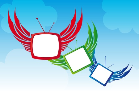 red, green and blue cartoon tv over sky background. illustration Stock Vector - 10143656