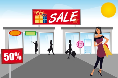 malls: woman shopping over mall with sky background. illustration