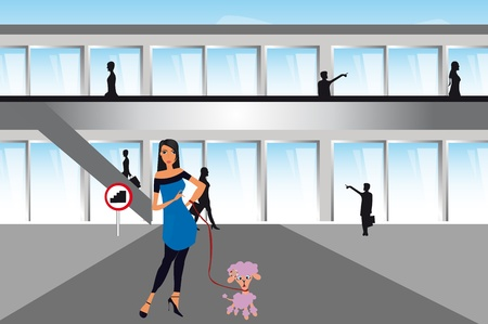 woman with dog over shopping center background. illustrator Vector
