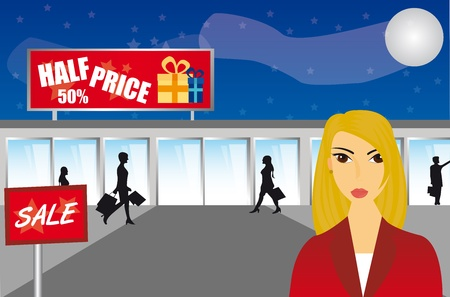 shopping center: woman shopping night over mall background. illustration Illustration