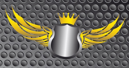 silver and gold blank emblem over gray background. illustration Vector