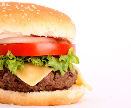cheeseburgers: hamburger with bread,tomato,onion,lettuce,meat,cheese,ham, isolated over white background