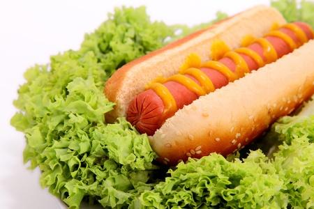 perro caliente: hot dog con mostaza sobre fondo de lechuga, pan y chorizo Foto de archivo