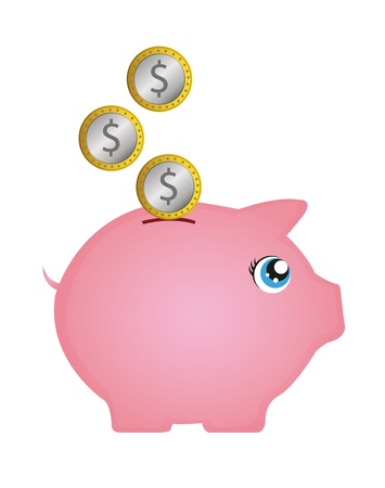 pink piggy with coins isolated over white background. vector