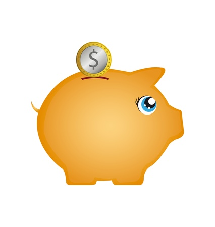 piggybank: piggy with coin isolated over white background. vector Illustration