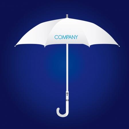 lluvia paraguas: identidad de empresa paraguas blanco sobre fondo azul. Vector Vectores