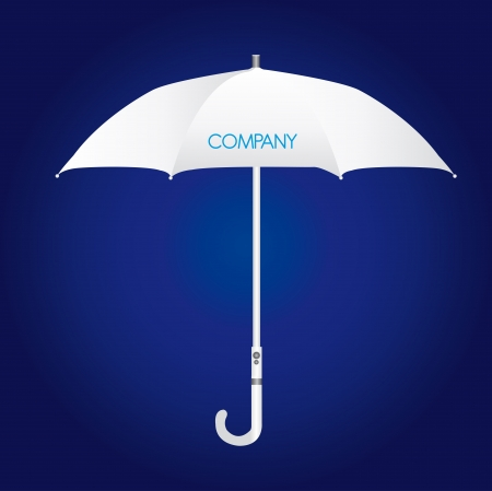 white umbrella company identity over blue background. vector Ilustração