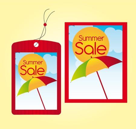 red summer sale labels over orange background. vector Vector