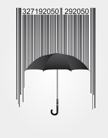 labelling: black barcode and umbrella isolated over white background. vector Illustration